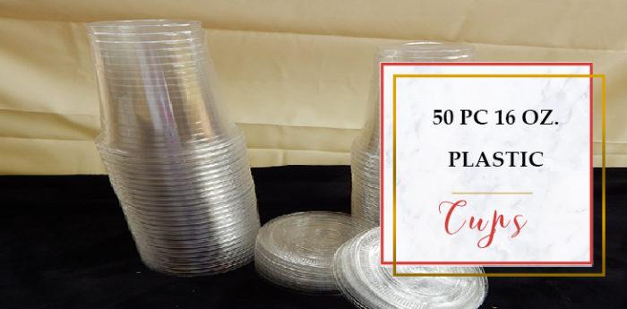 Glotech 50 Pieces 16 Ounce Plastic Disposable Cups